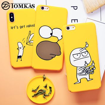 TOMKAS Cute Case For iPhone X XS 8 7 10 6s XR Cover Phone Case For iPhone X 7 8 6 6 s Plus XS Max Luxury Yellow Cases PC Coque