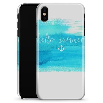 Hello Summer Blue Watercolor Anchor V2 - iPhone X Clipit Case