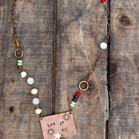 Let It Be Stamped Copper Necklace