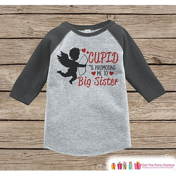 Big Sister Valentine's Outfit - Pregnancy Announcement Onepiece or Tshirt - Cupid Shirt for Girls - Big Sister Pregnancy Reveal - Grey