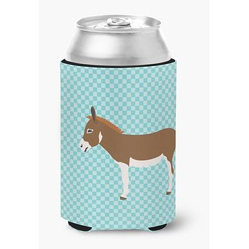 Miniature Mediterranian Donkey Blue Check Can or Bottle Hugger BB8021CC