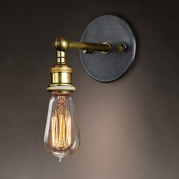 E27 110-220V Vintage Wall Lamp Loft Coppor Industrial Edison Simple Fashion Lamp Rustic Sconce Wall Light Shipping