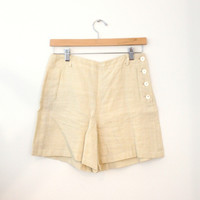 Off White Linen Shorts With Side Buttons (Ralph Lauren)