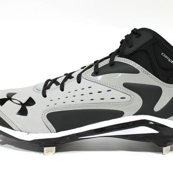 Under Armour Men's Yard Mid ST Grey/Black Baseball Metal Cleats