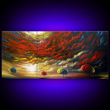 art abstract painting Original painting art original abstract painting tree painting red yellow blue acrylic painting 24 x 54