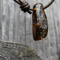 Large Baltic Amber Pendant Yellow Necklace Inclusion Fossil Honey Fathers Day Gift Dad Boy Dude Nature Lover Men Jewelry Unique