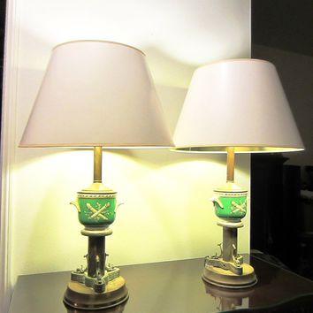 Art Deco Bronze Dolphins French Porcelain Jardiniere Table Lamps