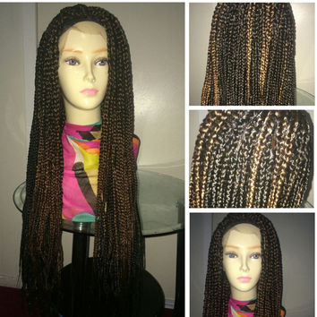 jumbo box braid lace front wig