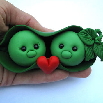 SALE Two Peas in a Pod Wedding Cake Topper handmade