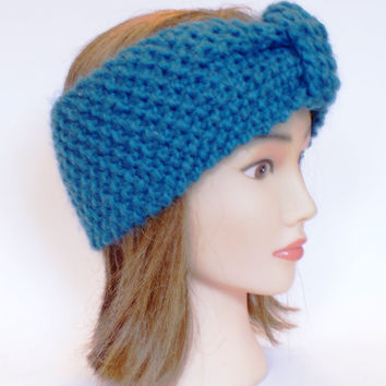 Irish handknit petrol blue earwarmer headband 100% wool women knitted teenager skiing holiday winter fall chunky knit