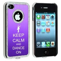 Apple iPhone 4 4S 4G Purple S296 Rhinestone Crystal Bling Aluminum Plated Hard Case Cover Keep Calm and Dance On