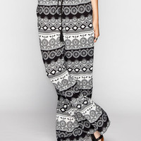 Full Tilt Ethinc Print Womens Wide Leg Pants Black/White  In Sizes