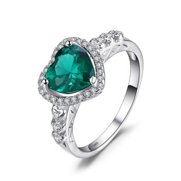Jewelry Palace Heart of Ocean 1.8ct Nano Russian Simulated Emerald Love Forever Halo Promise Ring 925 Sterling Silver