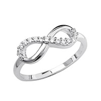 .925 Sterling Silver Rhodium Plated Half Infinity Promise Ring - Size 5