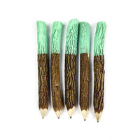 Twig Pencils in Mint Green Dipped (x5) - Stationery, School Supplies, Party Favors, Event Favors, Wedding