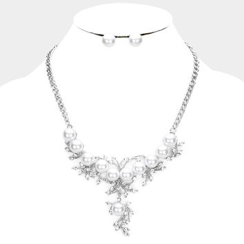 Crystal Rhinestone Pearl Cluster Evening Necklace