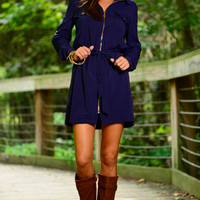 Just A Zip Dress, Navy
