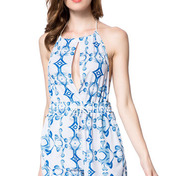 White and Blue Halter Cut Out Printed Romper