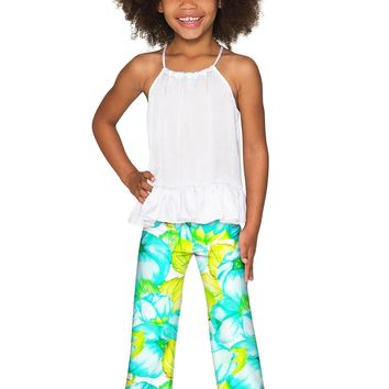 Sunny Day Amelia Summer Floral Fancy Palazzo Pant - Girls