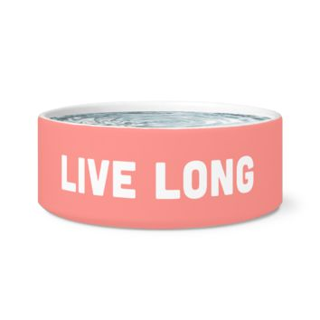 Live Long Ceramic Dog Bowl