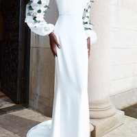 Off the Shoulder Gown with Sheer Embroidered Sleeves   Moda Operandi