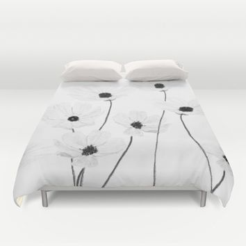 black and white cosmos  Duvet Cover by Color and Color