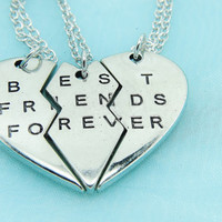 3 Best Friends Necklace, Together Forever Girlfriends Necklace, Best Friend Jewelry, Love Forever Heart,