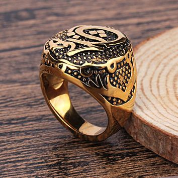 Stainless Steel Men Ring Punk Style Gold And White Colors Ring For Handsome Man Fashion Jewelry
