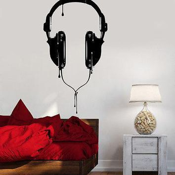 Wall Vinyl Music Headphones For Bedroom Guaranteed Quality Decal Unique Gift (z3530)