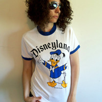 Vintage 70s Disneyland Donald Duck White and Blue Ringer T Shirt