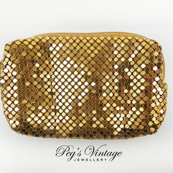 Vintage Lorac Cosmetic Gold Mesh Evening Purse/Clutch, Makeup Bag//Fashion Accessory