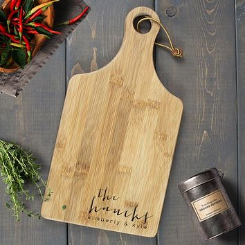 Personalized Engraved Paddle Cutting Board, Bamboo - CB01