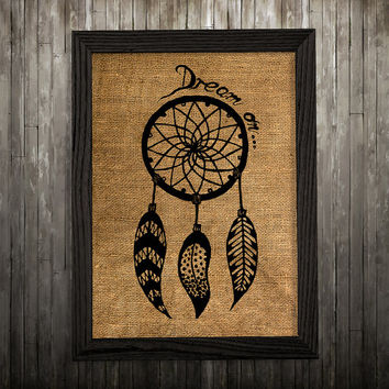 Antique poster Dreamcatcher print Tribal art Burlap print BLP851