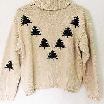 Vintage Hand Knit Chunky Tree Turtleneck Sweater