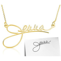 Signature Handwriting Necklace - 18K Gold Plated .925 Sterling Silver