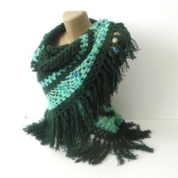shawl Women Hand crocheted shawl Stole wrap Green shawl  Crochet