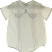 Feltman Brothers Newborn Boys White Take Home Bubble Outfit Blue Bear Embroidery:Amazon:Clothing