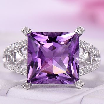 Princess Amethyst Engagement Ring Bridal Sets Pave Diamond Wedding 14k White Gold 10mm