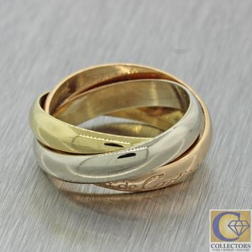 Vintage Estate Les Must De Cartier 18k Yellow White Rose Gold Trinity Band Ring