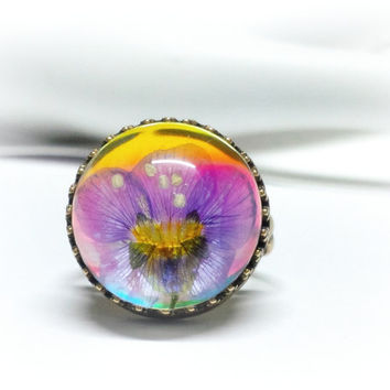 Boho Real Flower Ring, Handmade, Botanical Pressed Flower Hippie Jewelry, Color Changing Adjustable, Floral Garden, Colorful Gift for Her
