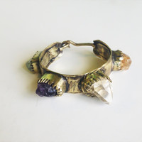 Raw crystal stones cuff gold boho gypsy antique style in solid brass-made to order
