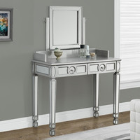 "Brushed Silver / Mirrored 36""L Vanity with 2 Drawers"