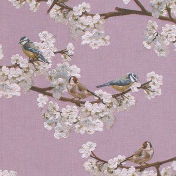 Passerines Branch Pink  French Table Runner
