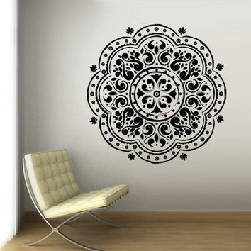 Wall Decal Vinyl  Mural Sticker Art Decor Bedroom Yoga Kitchen Ceiling Mandala Menhdi Flower Pattern Ornament Damask Dorm (z3068