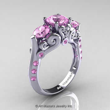 Art Masters 10K White Gold Three Stone Light Pink Sapphire Modern Antique Engagement Ring R515-14KWGLPS