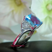 Swiss Blue Topaz Jewelry Wedding Engagement Ring, White Zircon Accents