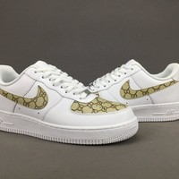 Women's and men's nike air force 1 SUPREME x GUCCI cheap nike shoes 076