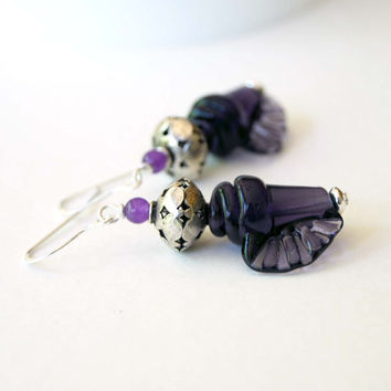 Purple Shell Earrings, Lampwork Glass Earrings, Beaded Earrings, Ocean Beach Earrings, Conch Shell Earrings