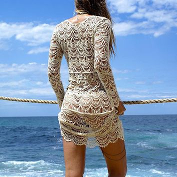 White Crochet Beach Cover Up