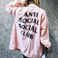 ANTI SOCAIL SOCIAL CLUB  Women's Hooded Zipper Jacket Coat Windbreaker